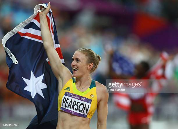 Sally Pearson of Australia celebrates after winning the gold medal in the Women's 100m Hurdles Final on Day 11 of the London 2012 Olympic Games at...