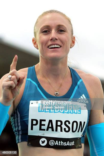 Sally Pearson of Australia celebrates victory in the Women's 100 metres Open during the IAAF Melbourne World Challenge at Olympic Park on March 22...