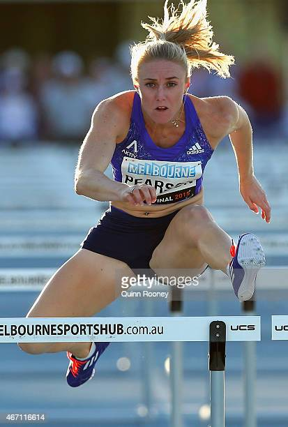 Sally Pearson of Australia competes in the Women's 100 Metre Hurdles during the IAAF Melbourne World Challenge at Lakeside Stadium on March 21 2015...
