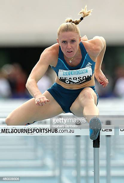 Sally Pearson of Australia competes in the Women's 100 metres hurdles open during the IAAF Melbourne World Challenge at Olympic Park on March 22 2014...
