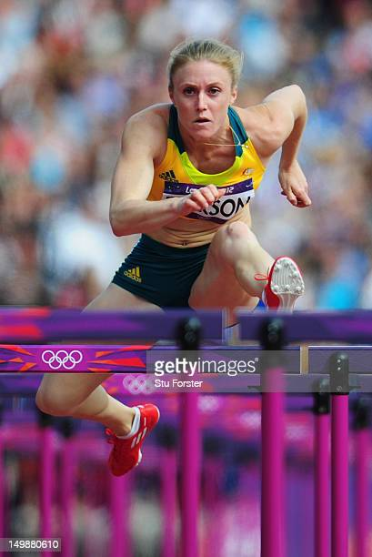 Sally Pearson of Australia competes in the Women's 100m Hurdles heat on Day 10 of the London 2012 Olympic Games at the Olympic Stadium on August 6...