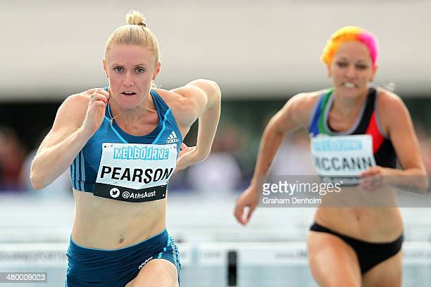 Sally Pearson of Australia crosses the line to victory in the Women's 100 metres hurdles open during the IAAF Melbourne World Challenge at Olympic...