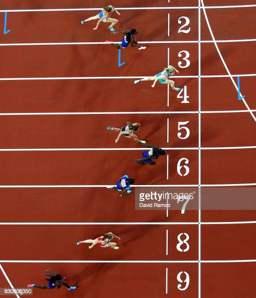 Sally Pearson of Australia crosses the line to win gold in the Women's 100 metres hurdles final during day nine of the 16th IAAF World Athletics...