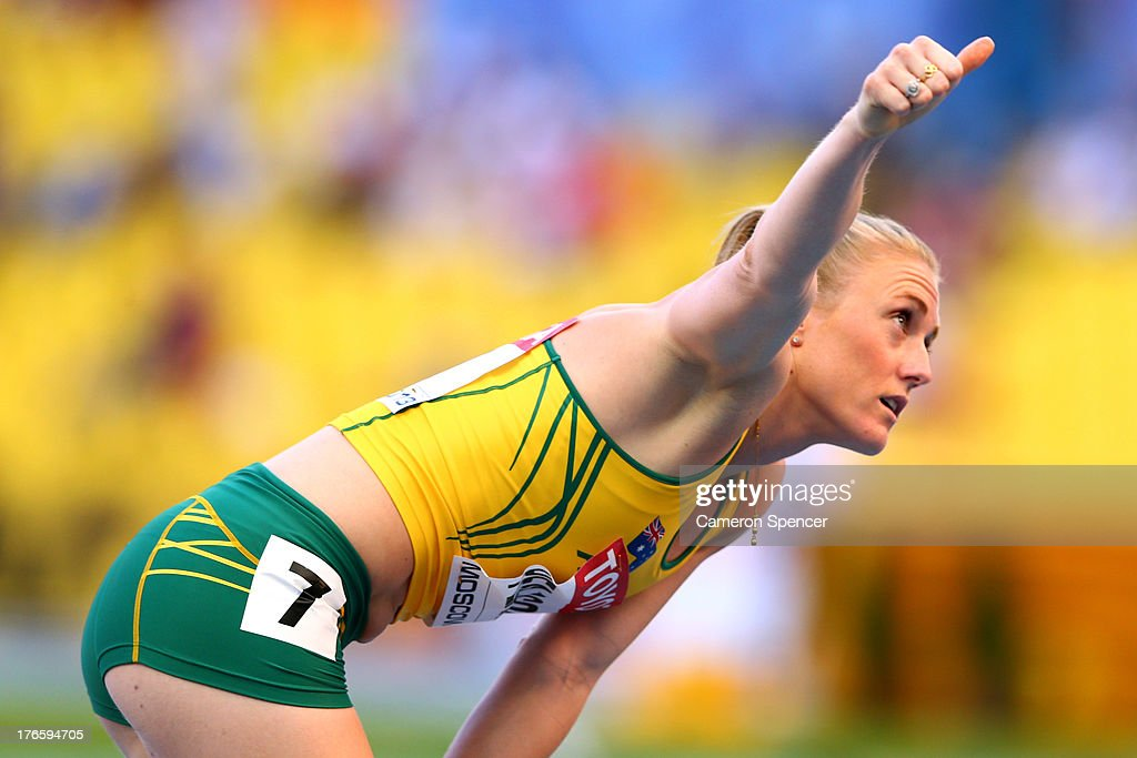 Sally Pearson of Australia gives the thumbs up after competing in the Women's 100 metres hurdles heats during Day Seven of the 14th IAAF World Athletics Championships Moscow 2013 at Luzhniki Stadium at Luzhniki Stadium on August 16, 2013 in Moscow, Russia.