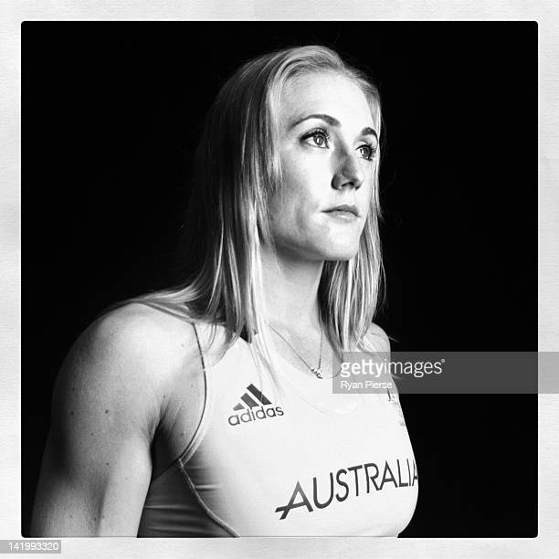 Sally Pearson of Australia poses during the adidas 2012 Australian Olympic Games competitor uniform launch at Sydney Olympic Park Sports Centre on...