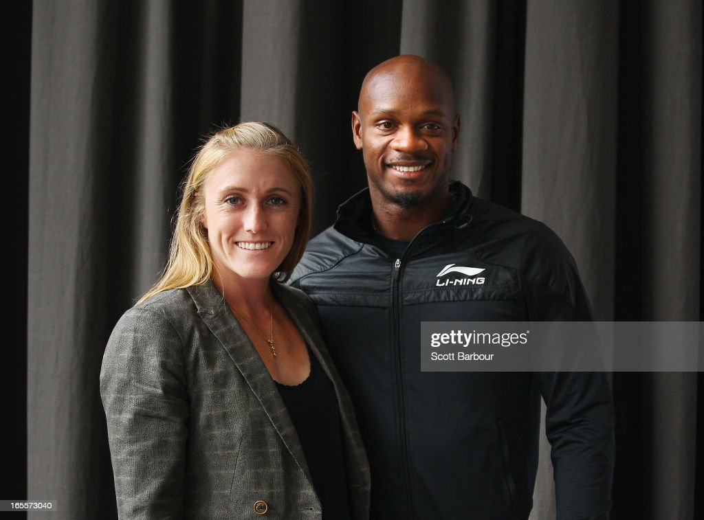 <a gi-track='captionPersonalityLinkClicked' href=/galleries/search?phrase=Sally+Pearson&family=editorial&specificpeople=200724 ng-click='$event.stopPropagation()'>Sally Pearson</a> of Australia poses with <a gi-track='captionPersonalityLinkClicked' href=/galleries/search?phrase=Asafa+Powell&family=editorial&specificpeople=240116 ng-click='$event.stopPropagation()'>Asafa Powell</a> of the United States during the John Landy Lunch on April 5, 2013 in Melbourne, Australia.