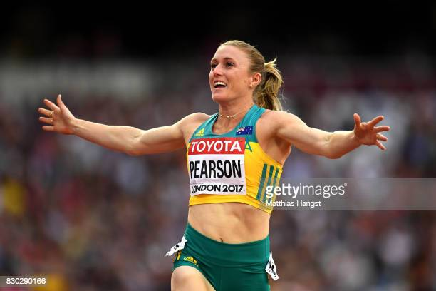 Sally Pearson of Australia reacts after competing in the Women's 100 metres hurdles semi finals during day eight of the 16th IAAF World Athletics...