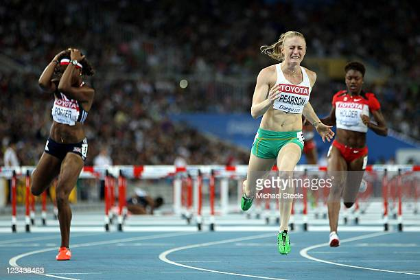 Sally Pearson of Australia reacts to her victory in the women's 100 metres hurdles final during day eight of 13th IAAF World Athletics Championships...