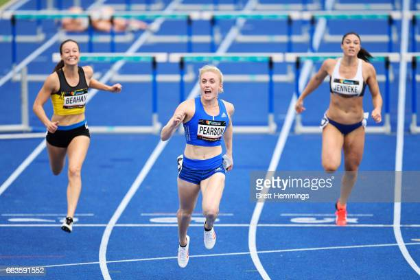 Sally Pearson of Queensland celebrates after winning her Open Womens 100m Hurdles event during day eight of the 2017 Australian Athletics...