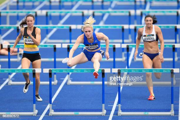 Sally Pearson of Queensland competes in her Open Womens 100m Hurdles event during day eight of the 2017 Australian Athletics Championships at Sydney...