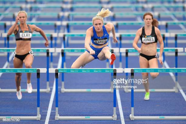 Sally Pearson of Queensland competes in her Open Womens Preliminary 100m Hurdles event during day eight of the 2017 Australian Athletics...