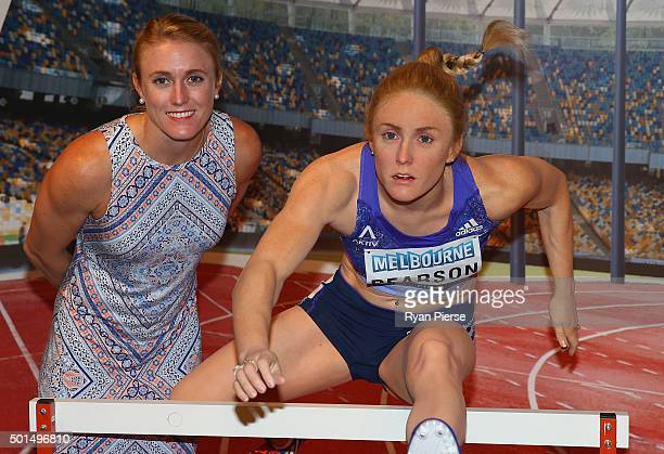 Sally Pearson poses with her wax figure after the unveiling at Madame Tussauds Sydney on December 16 2015 in Sydney Australia
