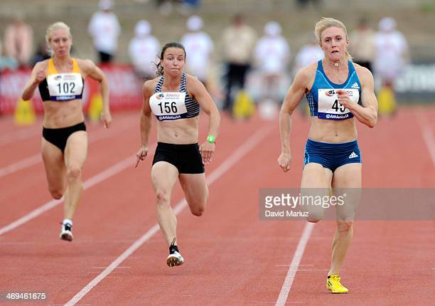 Sally Pearson wins the 100 metre final during the Adelaide Track Classic at Santos Stadium on February 15 2014 in Adelaide Australia