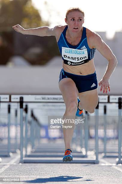 Sally Pearson wins the women's 100m hurdles final during the 92nd Australian Athletics Championships on April 6 2014 in Melbourne Australia