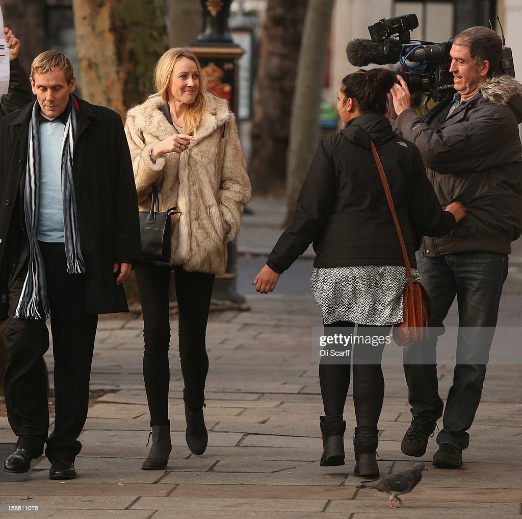 Sally Roberts (2nd L) arrives at The High Court on December 21, 2012 in London, England. The High Court has ruled against Ms Roberts' wishes and her son Neon underwent an operation to remove a brain tumour. She is continuing to legally fight a decision by her local health authority to administer radiotherapy cancer treatment to Neon.