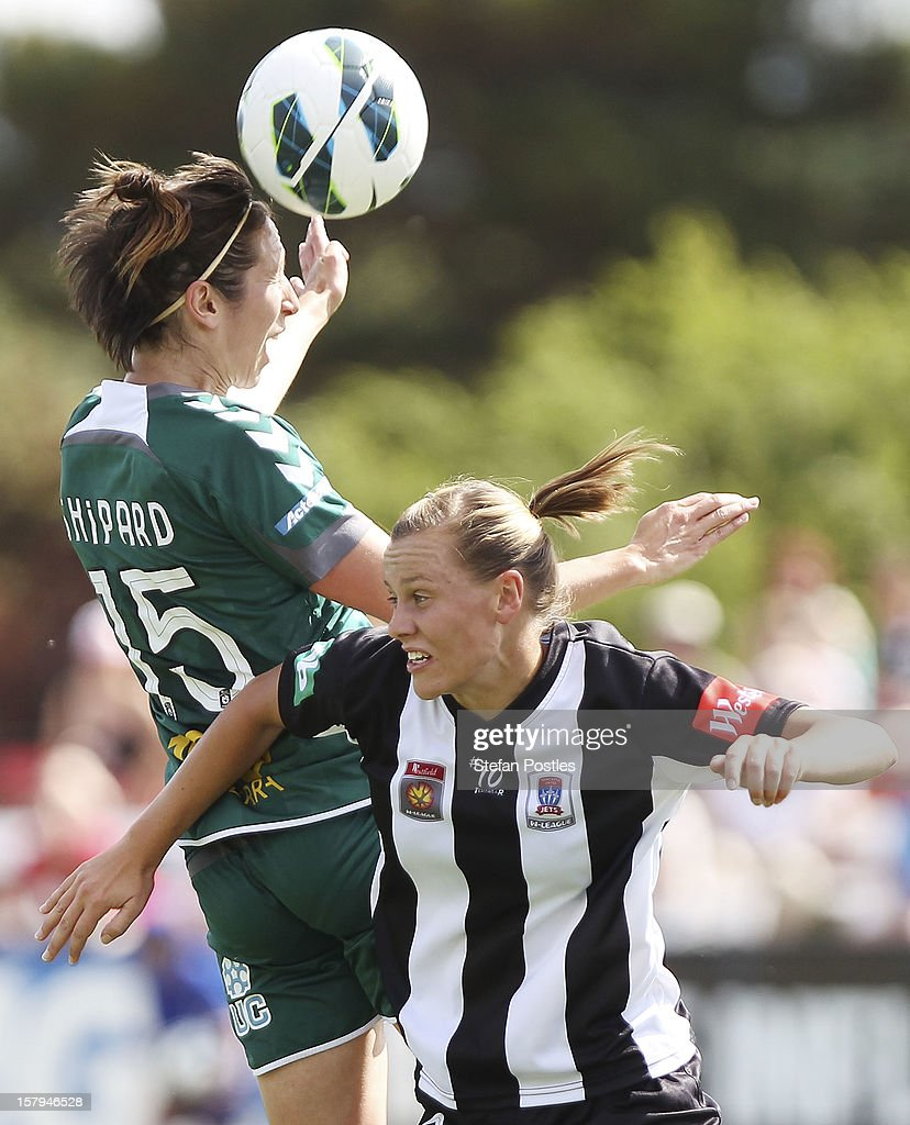 Sally Shipard of Canberra United and Emily Van Egmond of Newcastle Jets compete for a high ball during the round eight W-League match between Canberra United and the Newcastle Jets at Deakin Football Stadium on December 8, 2012 in Canberra, Australia.