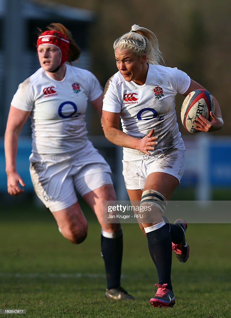 Sally Tuson of England Women in action during the Womens Six Nations match between England and Scotland at Esher RFC on February 2, 2013 in Esher, England.