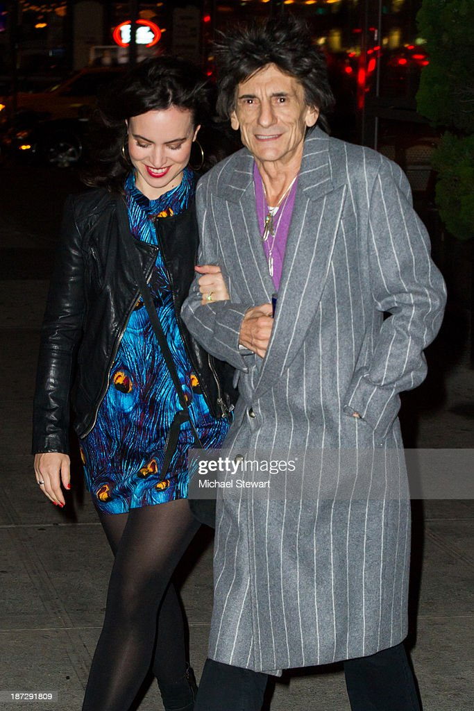 Sally Wood (L) and musician Ronnie Wood of the Rolling Stones seen outside the Gansevoort Hotel on November 7, 2013 in New York City.