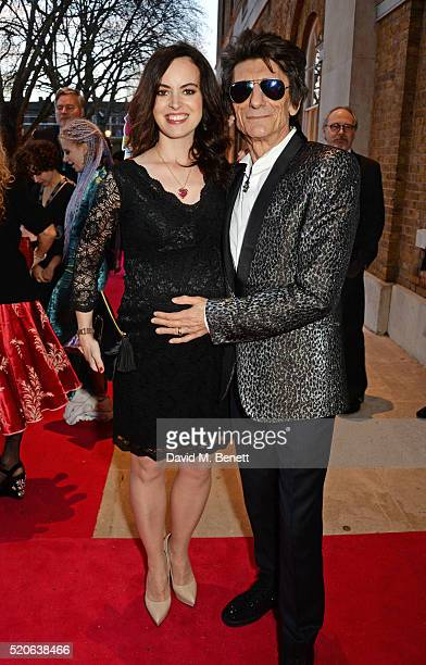 Sally Wood and Ronnie Wood attend a private view of 'The Rolling Stones Exhibitionism' at The Saatchi Gallery on April 4 2016 in London England Photo...