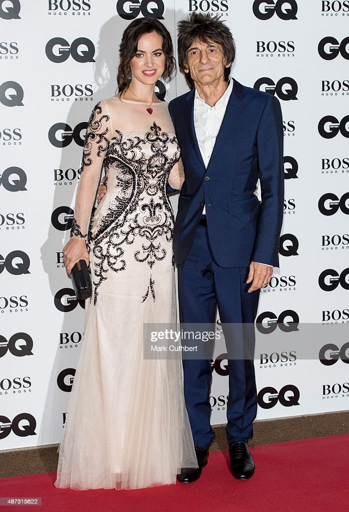 Sally Wood and Ronnie Wood attend the GQ Men of the Year Awards at The Royal Opera House on September 8, 2015 in London, England.