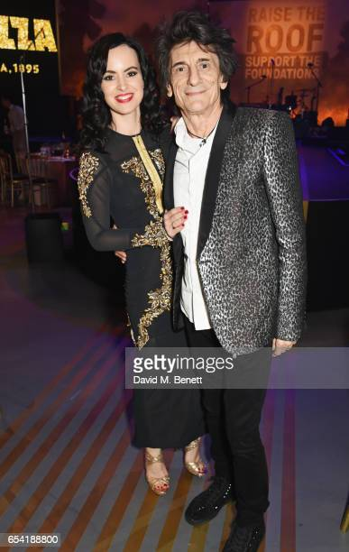 Sally Wood and Ronnie Wood attend the Roundhouse Gala at The Roundhouse on March 16 2017 in London England