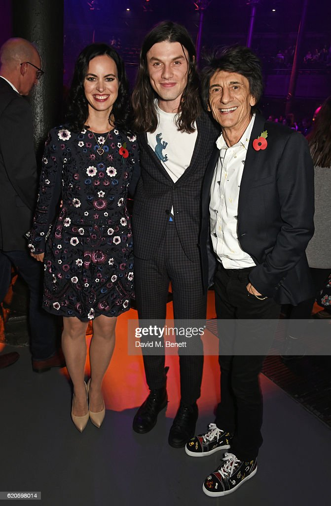 Sally Wood, James Bay and Ronnie Wood attend a drinks reception at The Stubhub Q Awards 2016 at The Roundhouse on November 2, 2016 in London, England.