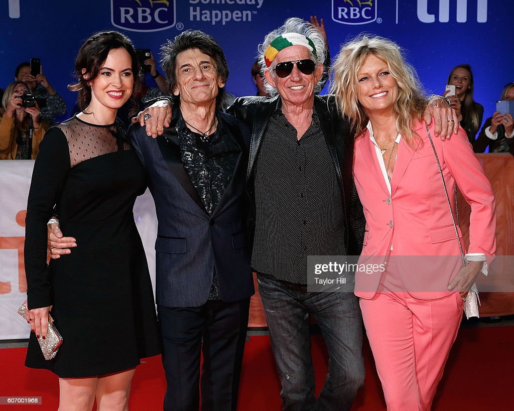 Sally Wood, Ron Wood, Keith Richards, and Patti Hansen attend the premiere of 'The Rolling Stones: Ole Ole Ole: A Trip Across Latin America' during the 2016 Toronto International Film Festival at Roy Thomson Hall on September 16, 2016 in Toronto, Canada.
