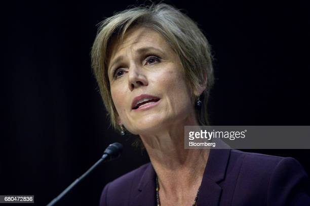 Sally Yates former acting US attorney general speaks during a Senate Judiciary Subcommittee on Crime and Terrorism hearing in Washington DC US on...