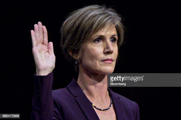 Sally Yates former acting US attorney general swears in to a Senate Judiciary Subcommittee on Crime and Terrorism hearing in Washington DC US on...