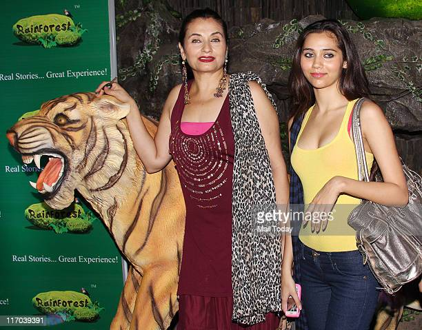 Salma Agha with Zaara Khan during the launch of the restaurant 'Rainforest Restaurant and Bar' at Andheri in Mumbai on June 172011