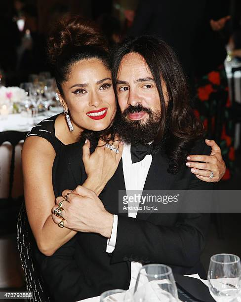 Salma Hayek and Alessandro Michele attend the Kering Official Cannes Dinner at Place de la Castre on May 17 2015 in Cannes France