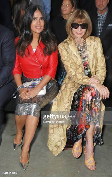 Salma Hayek and Anna Wintour attend the Christopher Kane SS18 catwalk show during London Fashion Week September 2017 at The Tanks at Tate Modern on...