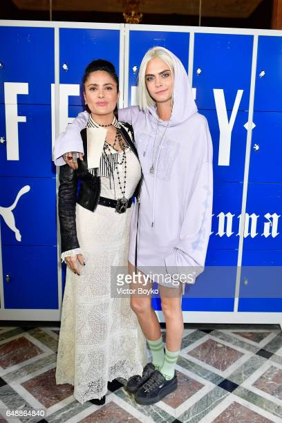 Salma Hayek and Cara Delevingne attend FENTY PUMA by Rihanna Fall / Winter 2017 Collection at Bibliotheque Nationale de France on March 6 2017 in...