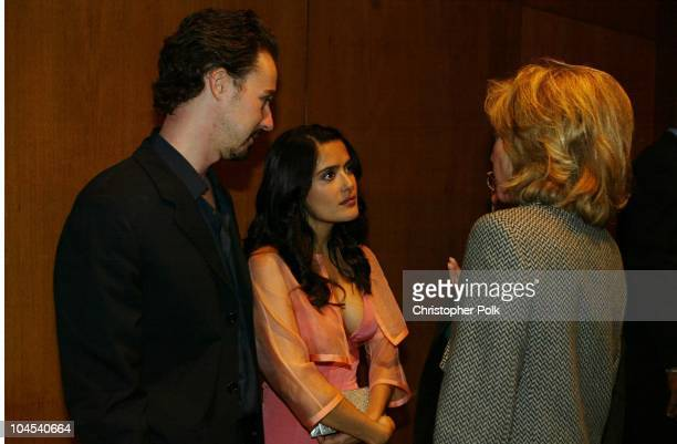 Salma Hayek and Ed Norton during 'Frida' Premiere After Party at Los Angeles County Museum of Art in Los Angeles CA United States