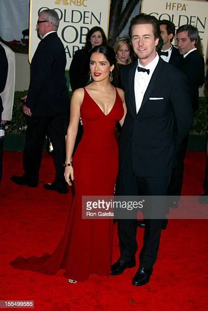 Salma Hayek and Edward Norton at The 60th Annual Golden Globe Awards Arrivals at The Beverly Hilton Hotel in Beverly Hills CA on January 19 2003
