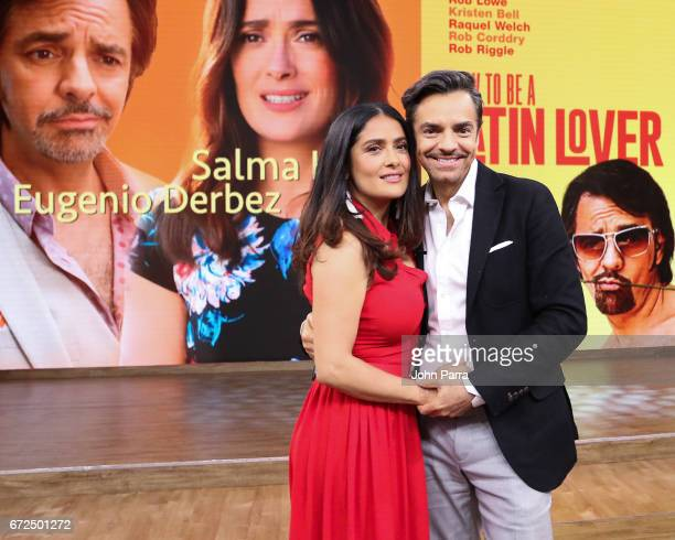 Salma Hayek and Eugenio Derbez are seen at Despierta America studio to promote the film 'How To Be A Latin Lover' on April 24 2017 in Miami Florida