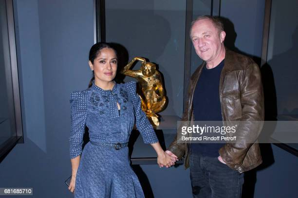 Salma Hayek and Francois Henri Pinault attend Damien Hirst's exibition at Pallazzo Grassi during the 57th Venice Biennale on May 10 2017 in Venice...