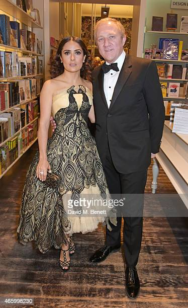 Salma Hayek and Francois Henri Pinault attend the Alexander McQueen Savage Beauty Fashion Gala at the VA presented by American Express and Kering on...