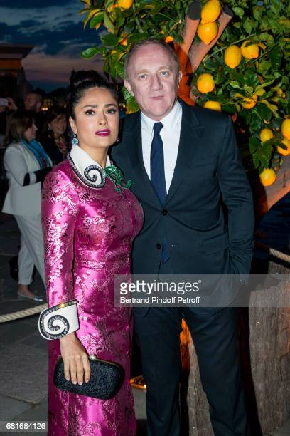 Salma Hayek and Francois Henri Pinault attend the Cini party during the 57th International Art Biennale on May 10 2017 in Venice Italy