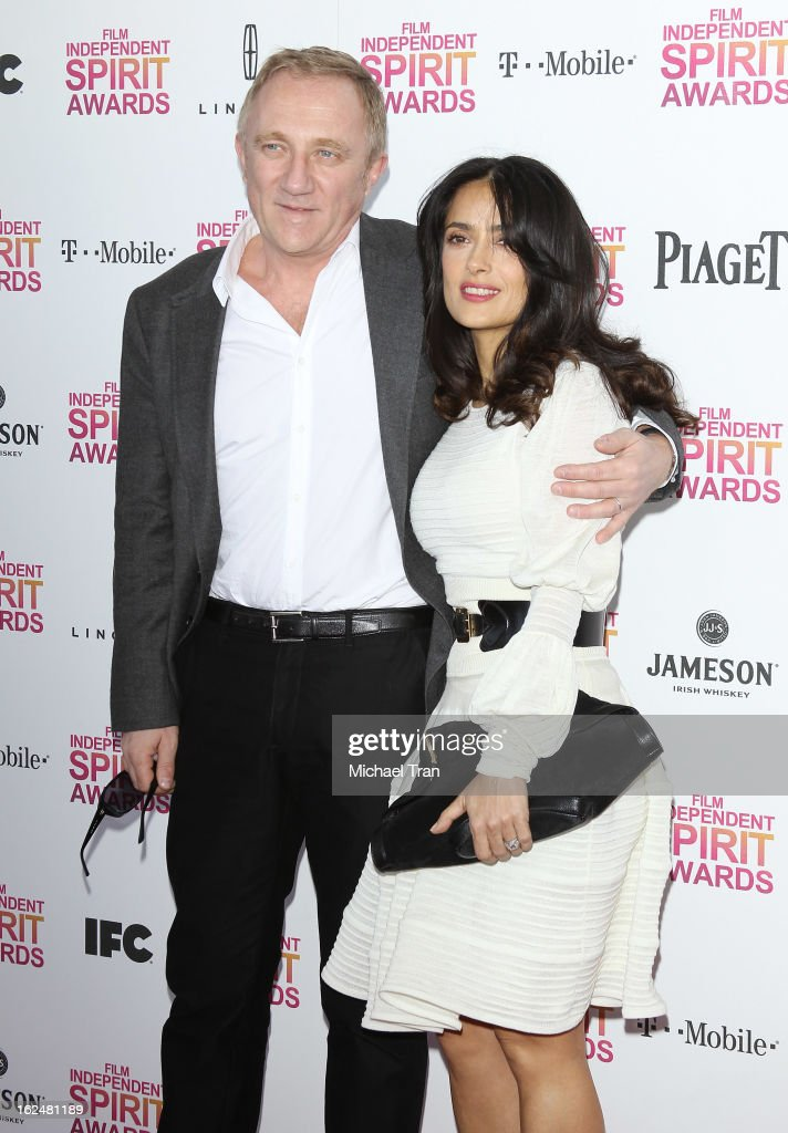 Salma Hayek (R) and Francois-Henri Pinault arrive at the 2013 Film Independent Spirit Awards held on February 23, 2013 in Santa Monica, California.