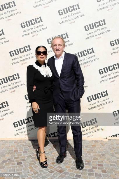 Salma Hayek and FrancoisHenri Pinault arrive at the Gucci show during Milan Fashion Week Spring/Summer 2018 on September 20 2017 in Milan Italy