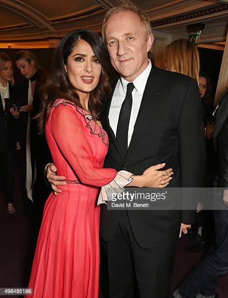 Salma Hayek and FrancoisHenri Pinault attend the British Fashion Awards in partnership with Swarovski at the London Coliseum on November 23 2015 in...