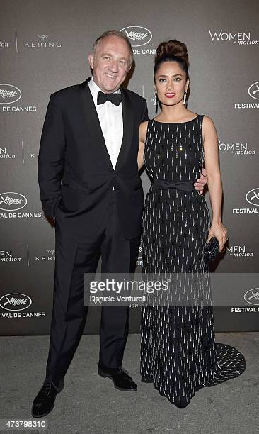Salma Hayek and FrançoisHenri Pinault attend the Kering Official Cannes Dinner at Place de la Castre on May 17 2015 in Cannes France