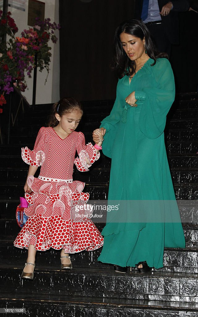 <a gi-track='captionPersonalityLinkClicked' href=/galleries/search?phrase=Salma+Hayek&family=editorial&specificpeople=201844 ng-click='$event.stopPropagation()'>Salma Hayek</a> (R) and her daughter Valentina Paloma Pinault attend the 'Les P'tits Cracks' charity dinner at Pavillon Champs-Elysees on April 25, 2013 in Paris, France.