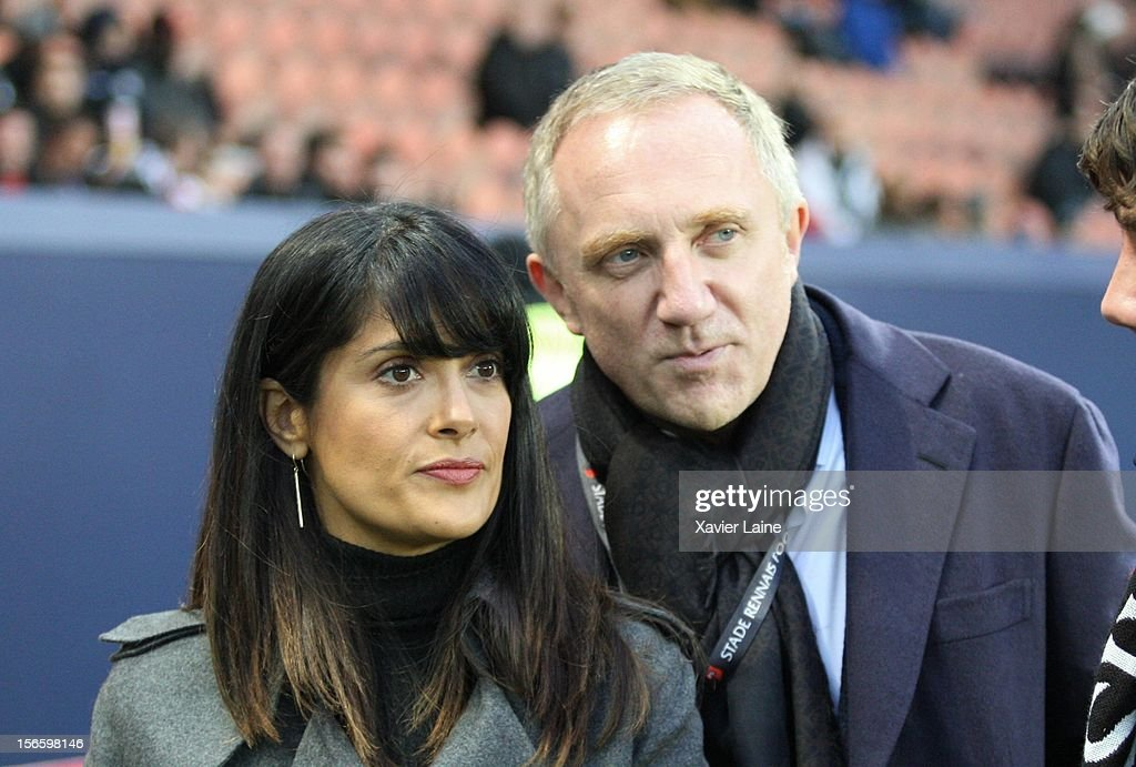 <a gi-track='captionPersonalityLinkClicked' href=/galleries/search?phrase=Salma+Hayek&family=editorial&specificpeople=201844 ng-click='$event.stopPropagation()'>Salma Hayek</a> and her husband President <a gi-track='captionPersonalityLinkClicked' href=/galleries/search?phrase=Francois-Henri+Pinault&family=editorial&specificpeople=532174 ng-click='$event.stopPropagation()'>Francois-Henri Pinault</a> of Stade Rennes FC attends the French Ligue 1 between Paris Saint-Germain FC and Stade Rennais FC, at Parc des Princes on November 17, 2012 in Paris, France.