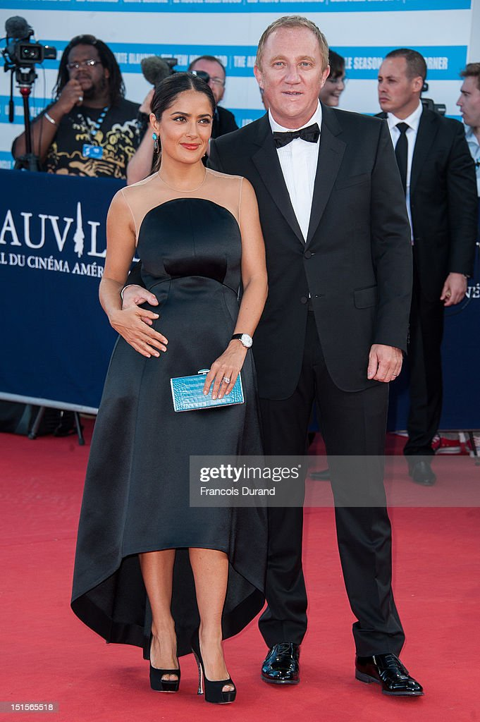 Salma Hayek and husband Francois-Henri Pinault arrive at the closing ceremony of the 38th Deauville American Film Festival on September 8, 2012 in Deauville, France.