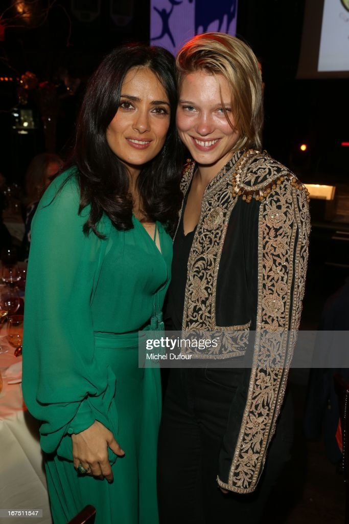 <a gi-track='captionPersonalityLinkClicked' href=/galleries/search?phrase=Salma+Hayek&family=editorial&specificpeople=201844 ng-click='$event.stopPropagation()'>Salma Hayek</a> and Lea Seydoux attend the 'Les P'tits Cracks' charity dinner at Pavillon Champs-Elysees on April 25, 2013 in Paris, France.