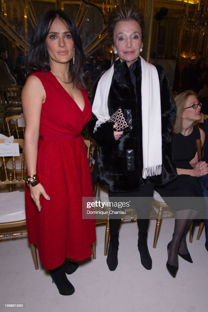 <a gi-track='captionPersonalityLinkClicked' href=/galleries/search?phrase=Salma+Hayek&family=editorial&specificpeople=201844 ng-click='$event.stopPropagation()'>Salma Hayek</a> and <a gi-track='captionPersonalityLinkClicked' href=/galleries/search?phrase=Lee+Radziwill&family=editorial&specificpeople=218138 ng-click='$event.stopPropagation()'>Lee Radziwill</a> attend the Giambattista Valli Spring/Summer 2013 Haute-Couture show as part of Paris Fashion Week at on January 21, 2013 in Paris, France.