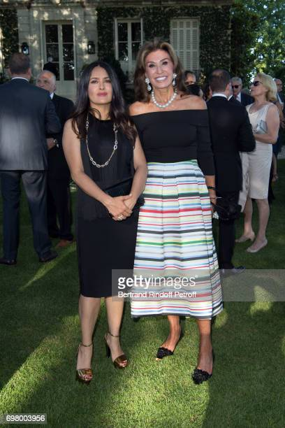 Salma Hayek and Myriam Lafon attend the Dinner of 'Grands Crus Classes en 1858' on June 18 2017 in Chateau Latour France