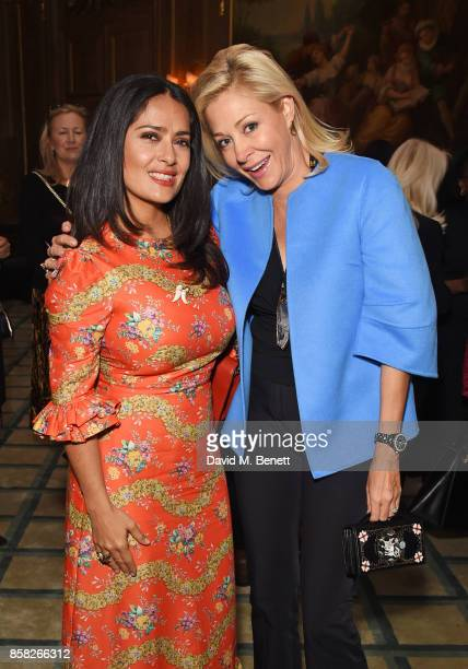 Salma Hayek and Nadja Swarovski attend the Academy of Motion Picture Arts and Sciences Women In Film lunch at Claridge's Hotel on October 6 2017 in...